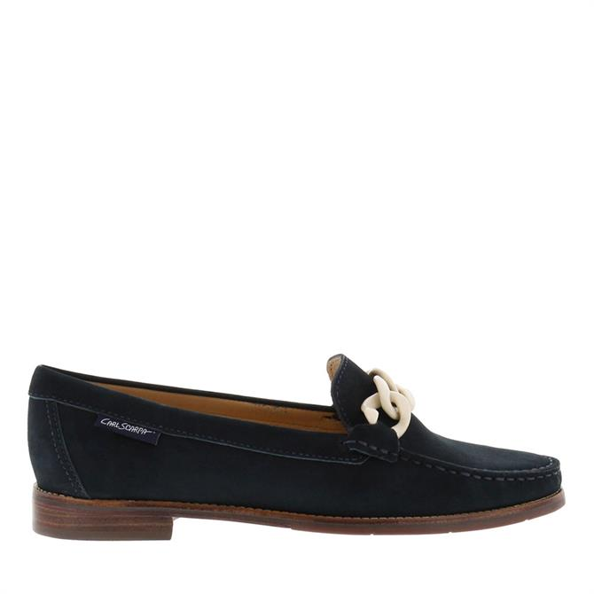 Carl Scarpa Janelle Navy Nubuck Leather Loafers