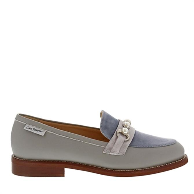 Carl Scarpa Lolita Patent Grey and Blue Loafers