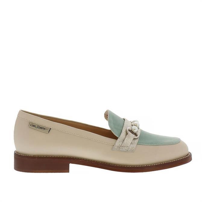 Carl Scarpa Lolita Patent Beige Loafers