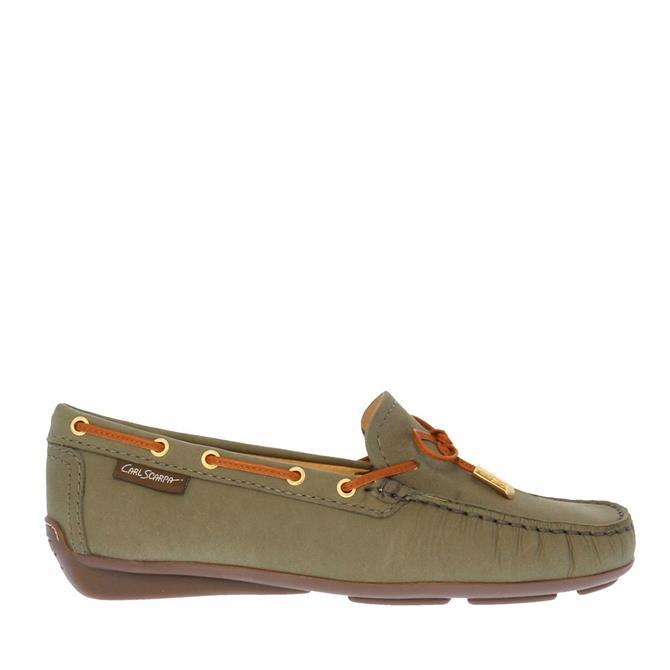 Carl Scarpa Misha Khaki Leather Loafers