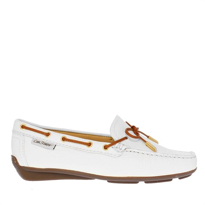 Carl Scarpa Misha White Leather Loafers