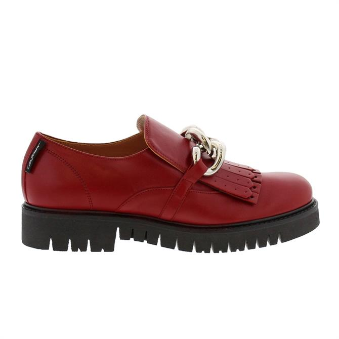 Carl Scarpa Nicole Red Leather Loafers