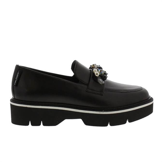 Carl Scarpa Nilah Chunky Bead Trim Black Leather Loafers