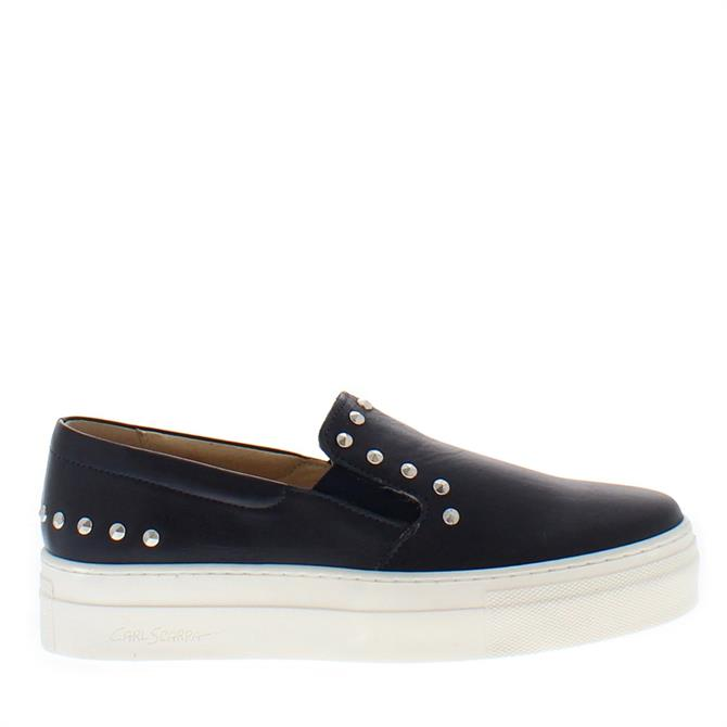 Carl Scarpa Petra Navy Slip-On Leather Trainers