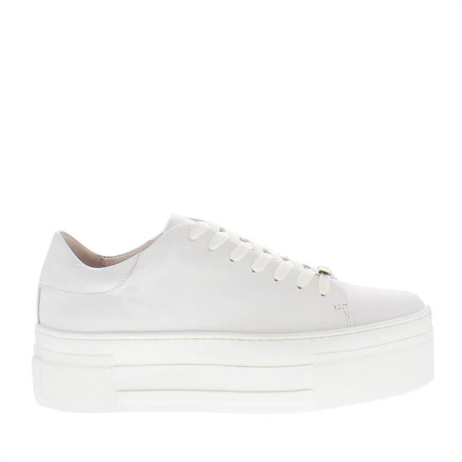 Carl Scarpa Polina White Leather Platform Trainers