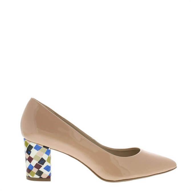 Carl Scarpa Priscilla Nude Block Heel Court Shoes