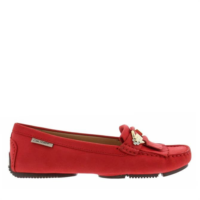 Carl Scarpa Ramona Red Suede Loafers