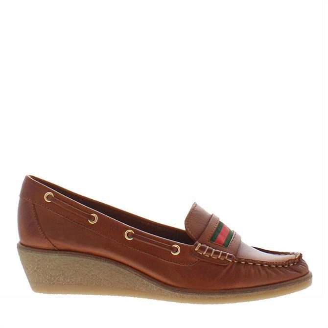 Carl Scarpa Remi Brandy Leather Wedge Heel Loafers