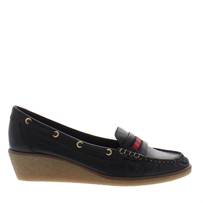 Carl Scarpa Remi Navy Leather Wedge Heel Loafers
