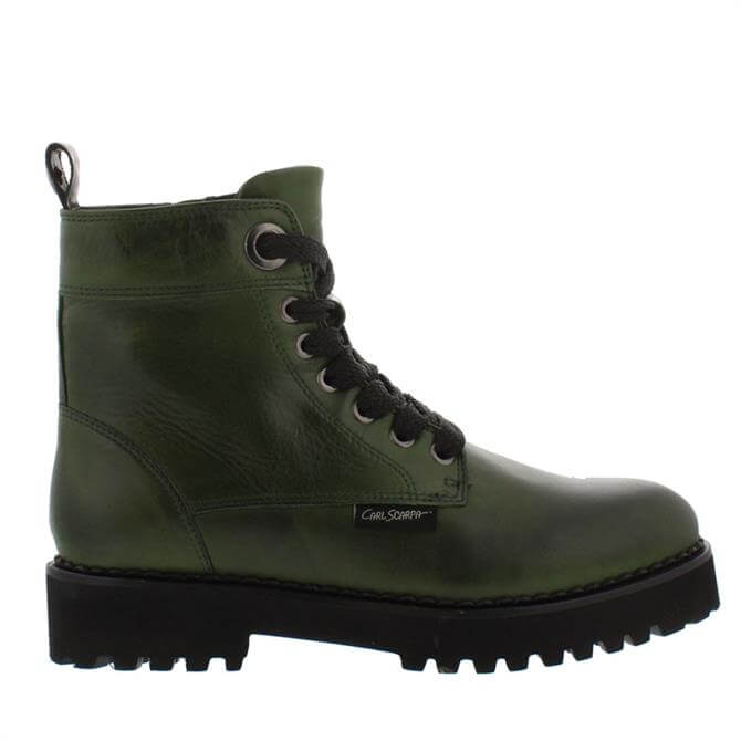 Carl Scarpa Rhaine Green Leather Lace-Up Boots