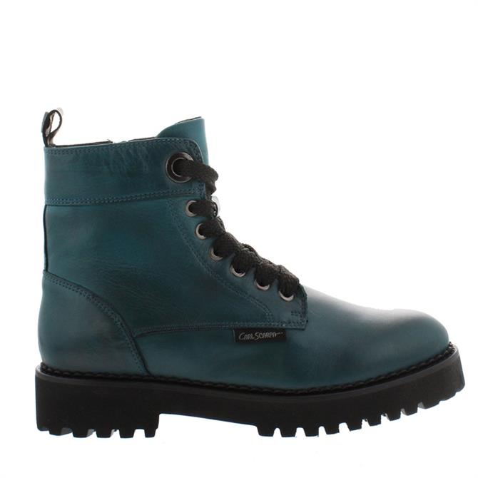 Carl Scarpa Rhaine Teal Leather Lace-Up Ankle Boots