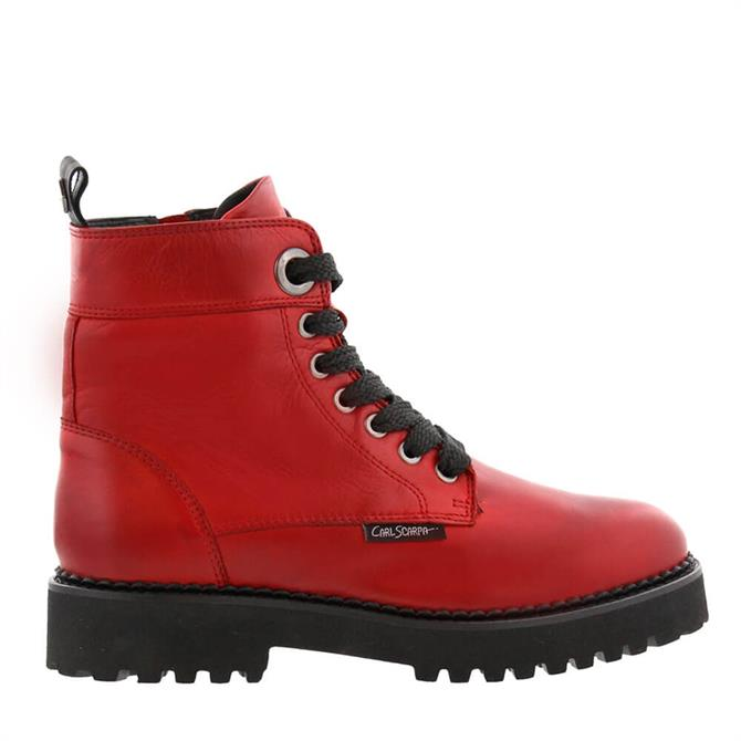 Carl Scarpa Rhaine Red Leather Lace-Up Ankle Boots