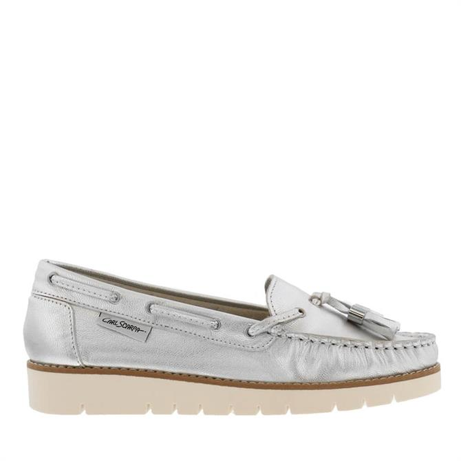Carl Scarpa Roxie Silver Leather Loafers