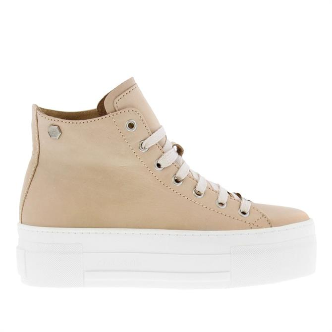 Carl Scarpa Roz Beige Leather High Top Trainers