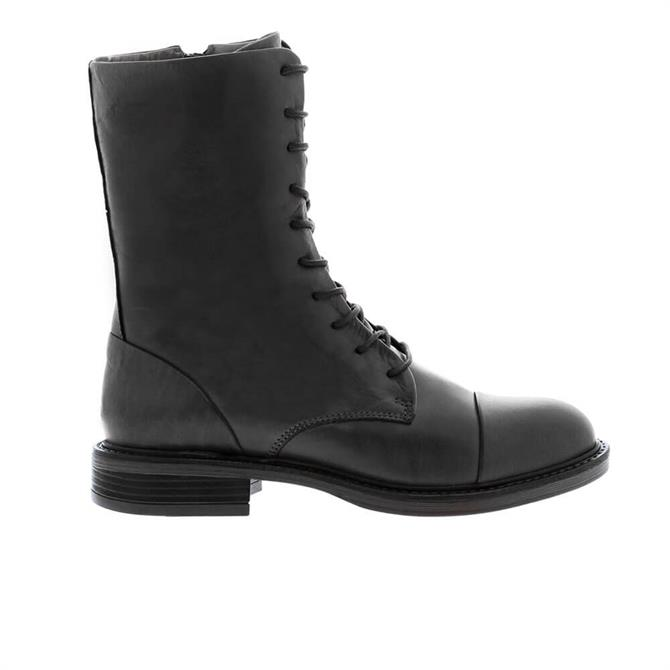 Carl Scarpa Rozlynn Black Leather Lace-Up Mid Calf Boots
