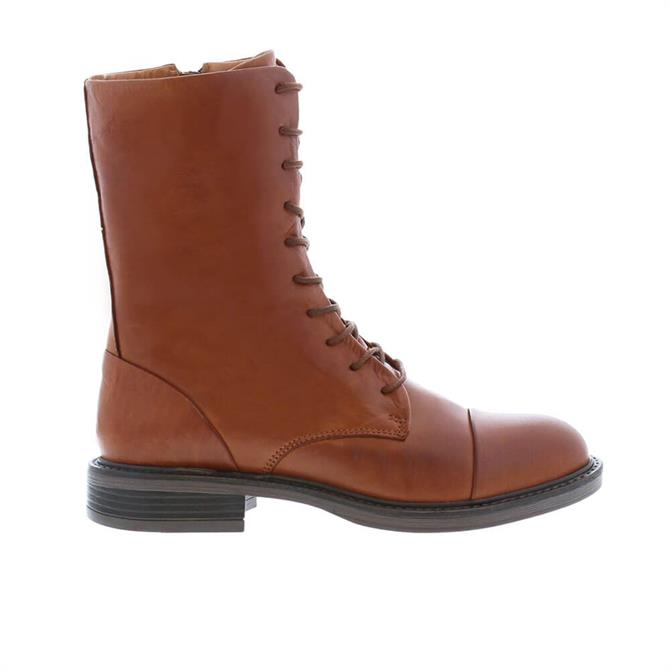 Carl Scarpa Rozlynn Tan Leather Lace-Up Mid Calf Boots