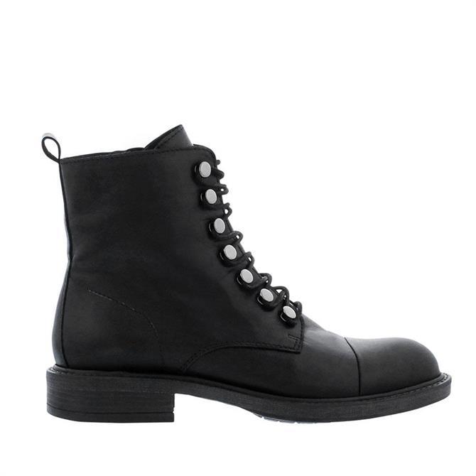 Carl Scarpa Suki Black Leather Military Boots