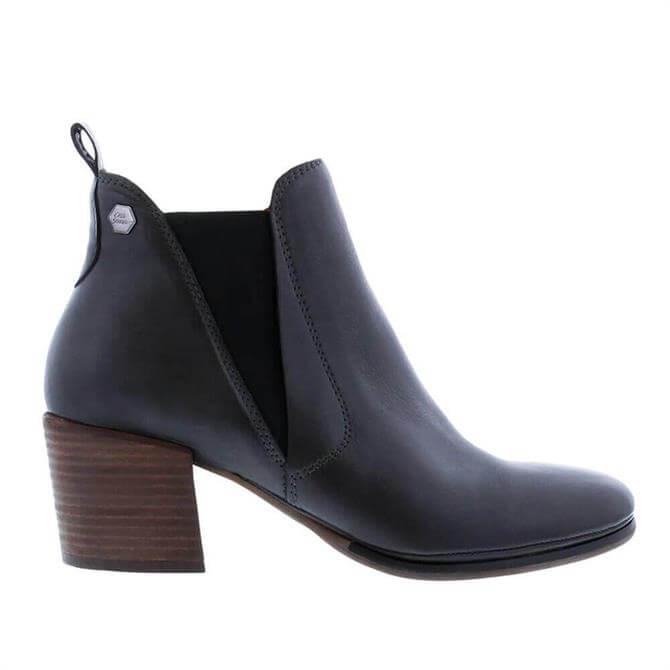 Carl Scarpa Sunako Dark Grey Leather Heeled Ankle Boot