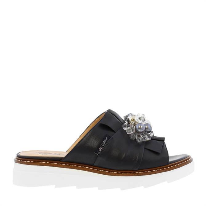 Carl Scarpa Valencia Navy Leather Embellished Sandals