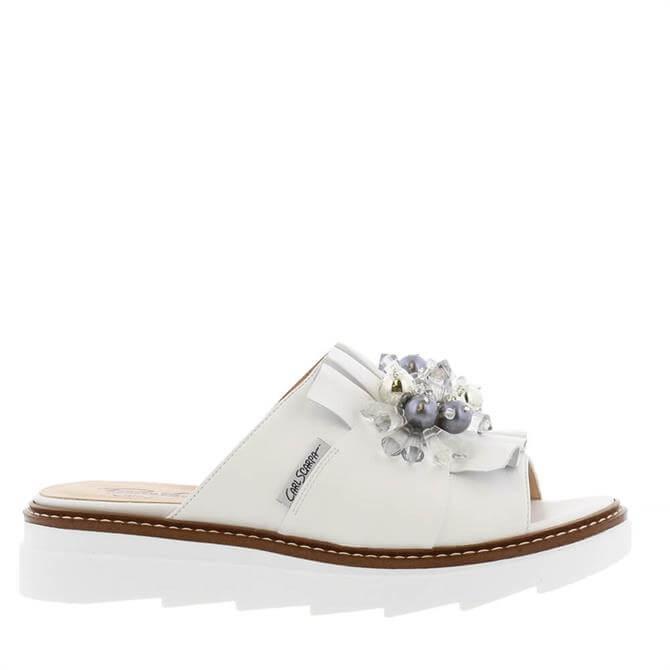 Carl Scarpa Valencia White Leather Embellished Sandals