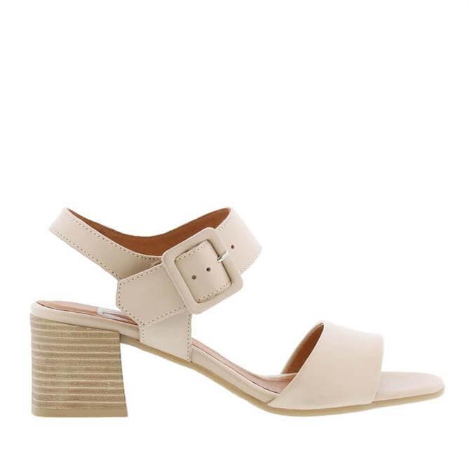 Carl Scarpa Vonda Block Heel Beige Leather Sandals
