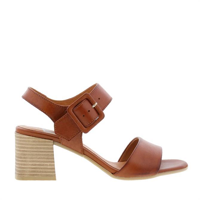Carl Scarpa Vonda Block Heel Tan Leather Sandals