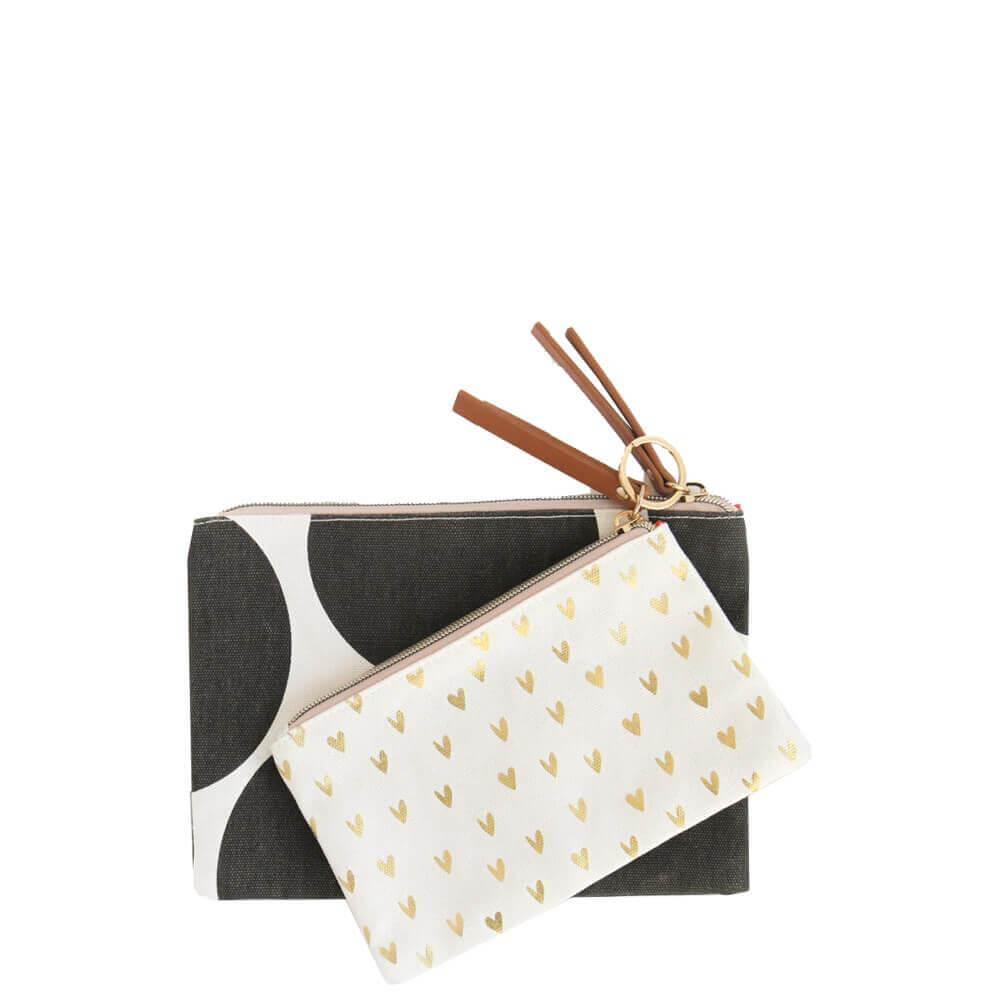 Heart canvas cotton pouch