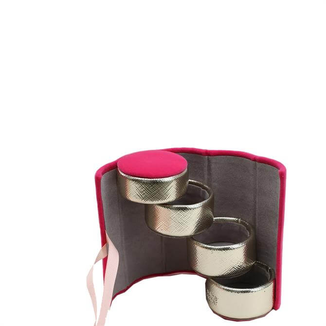 Caroline Gardner Bright Pink Velvet Mini Jewellery Box Tower