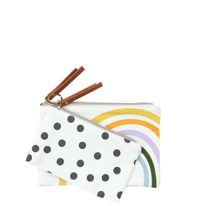 Caroline Gardner Rainbow Spot Canvas Pouch Duo