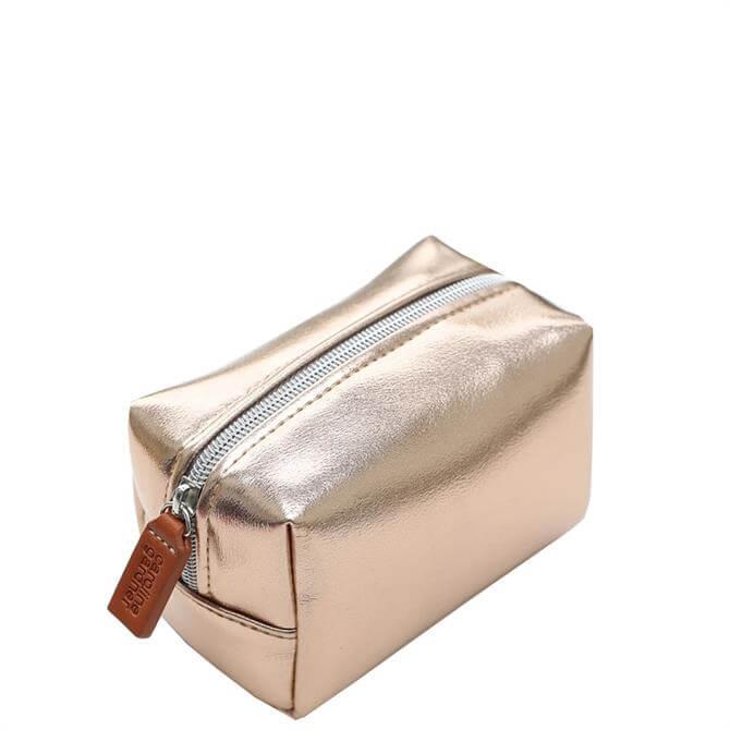 Caroline Gardner Rose Gold Mini Cube Cosmetic Bag