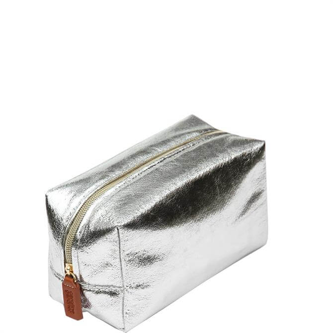 Caroline Gardner Silver Crackle Cube Cosmetic Bag