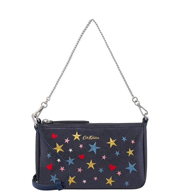 Cath Kidston Midnight Stars Metallic Embroidered Demi Bag