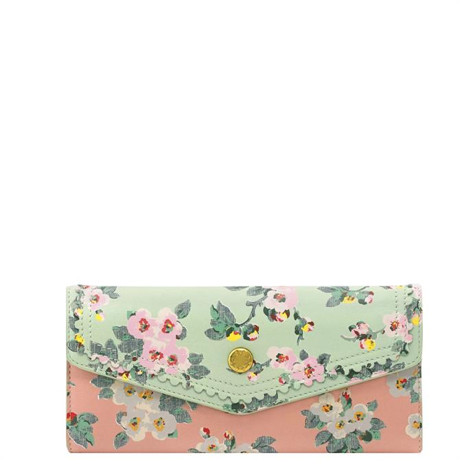 Cath Kidston Mayfield Blossom Mint Large Leather Envelope Wallet