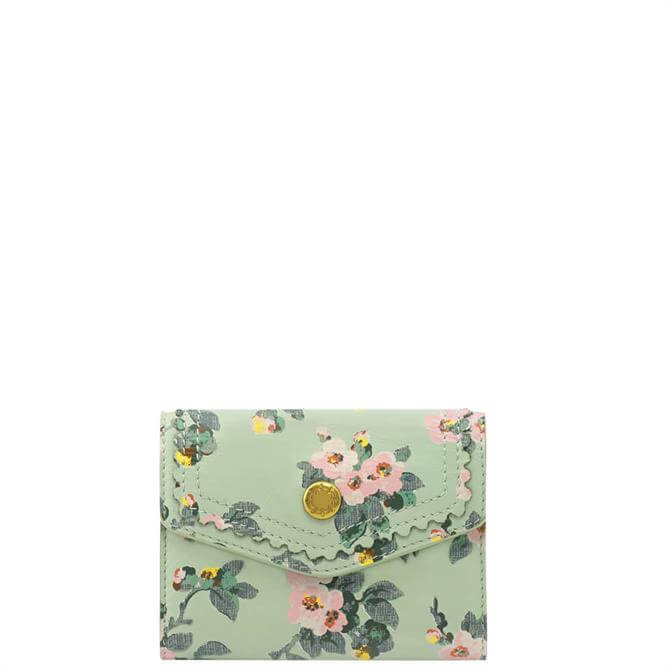 Cath Kidston Mayfield Blossom Mint Small Leather Envelope Wallet