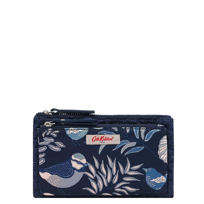 Cath Kidston Shadow Flowers Navy Embroidered Double Pouch