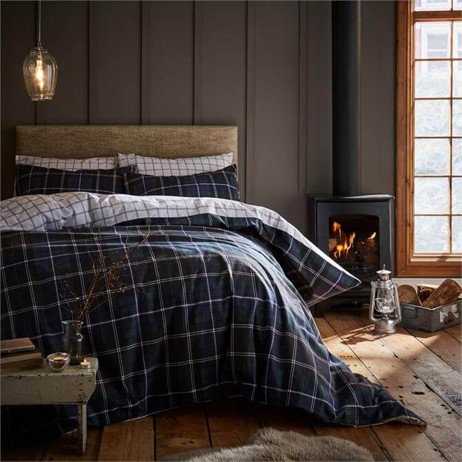 Catherine Lansfield Brushed Cotton Navy Tartan Duvet Set