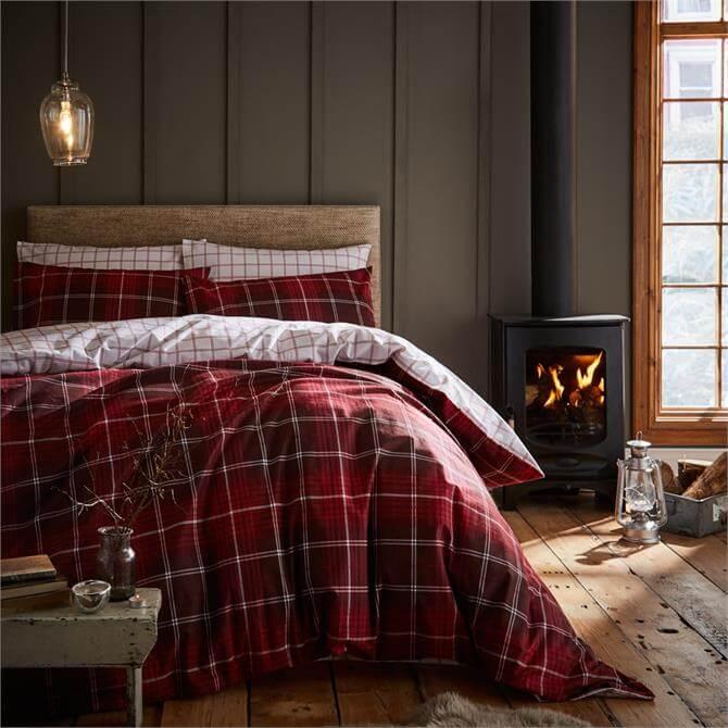 Catherine Lansfield Brushed Cotton Red Tartan Duvet Set