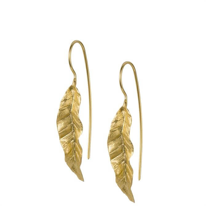 Christin Ranger Banana Leaf Gold Plated Sterling Silver Earrings