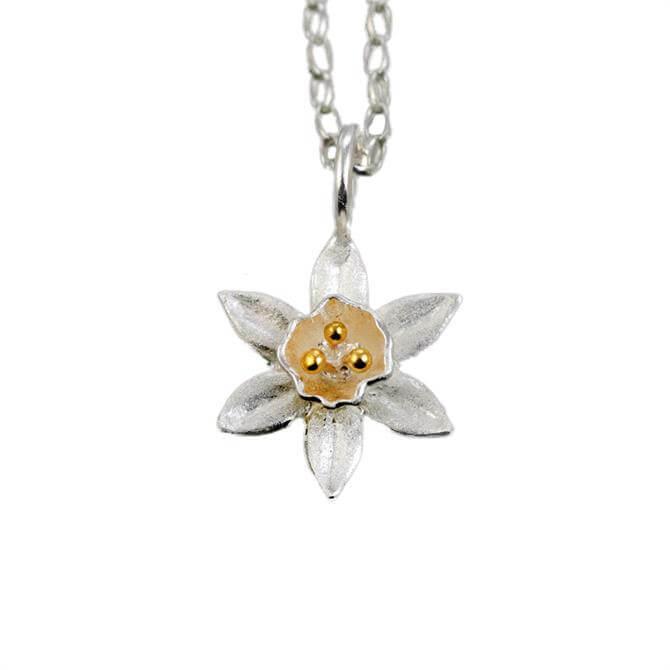 Christin Ranger Daffodil Silver & Gold Flower Pendant