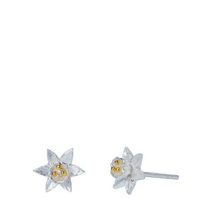 Christin Ranger Daffodil Silver & Gold Flower Stud Earrings