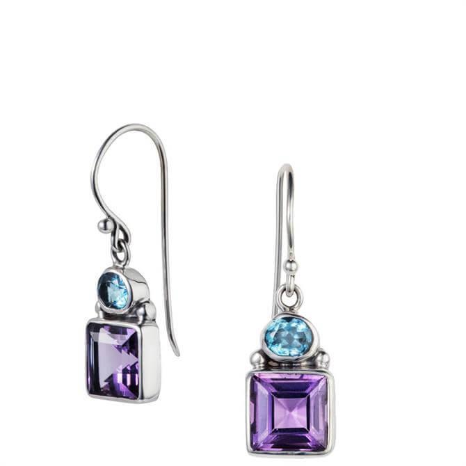 Christin Ranger Violet Amethyst & Blue Topaz Sliver Drop Earrings