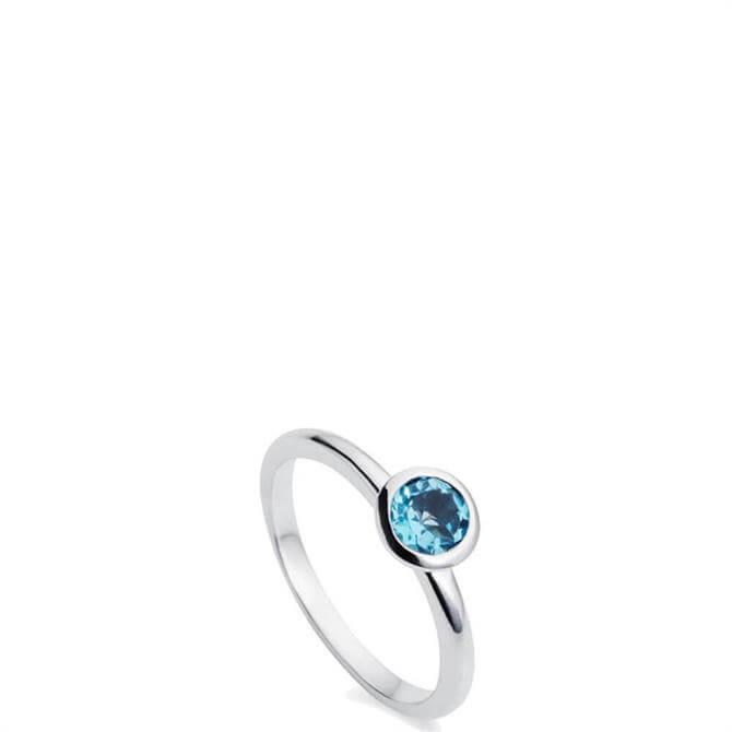 Christin Ranger Gem Drop Blue Topaz Silver Ring