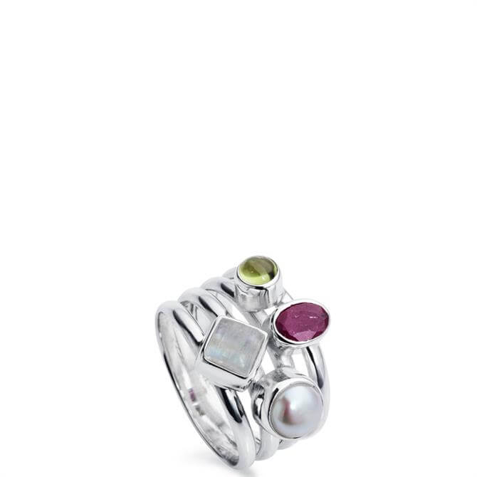 Christin Ranger Harmony Ruby Multi Stone Silver Ring