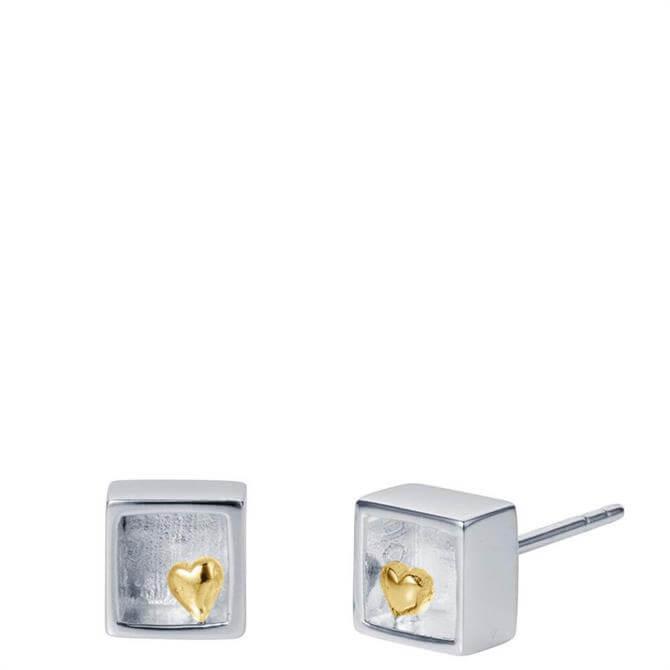 Christin Ranger Heart of Gold Silver Stud Earrings