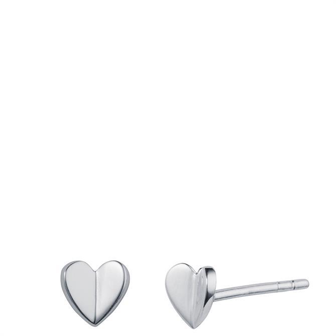 Christin Ranger Fluttering Silver Heart Stud Earrings