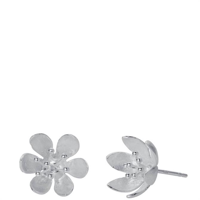 Christin Ranger Water Lilly Silver Stud Earrings