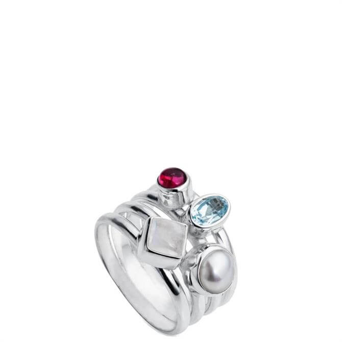 Christin Ranger Harmony Blue Topaz Multi Stone Silver Ring