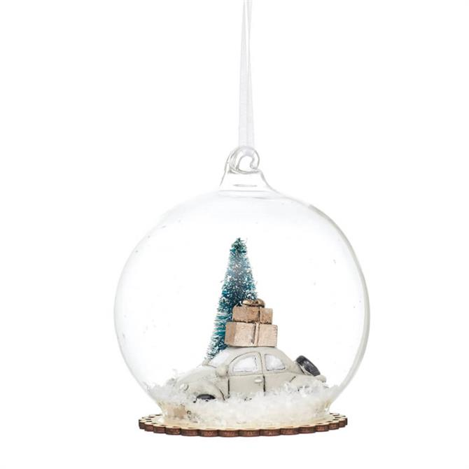 Sass & Belle Snowy White Car Dome Bauble