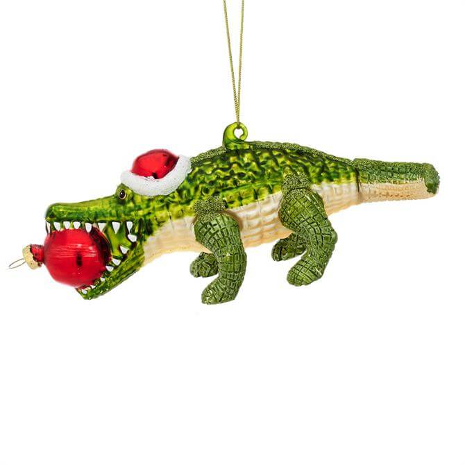 Sass & Belle Jungle Fun Santa Alligator Shaped Bauble