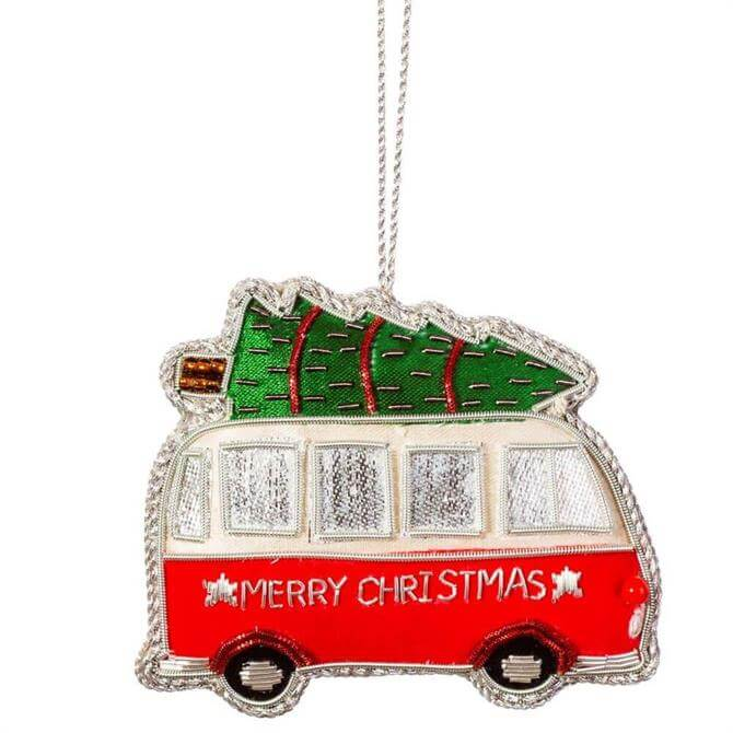 Sass & Belle Christmas Camper Van Zari Embroidery Decoration